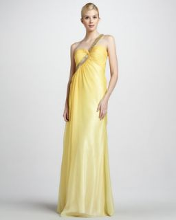 Womens Beaded Strap One Shoulder Gown   La Femme Boutique   Yellow (12)