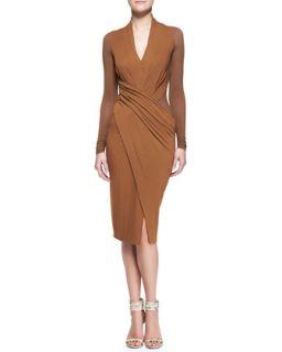 Womens Cool Jersey Draped Long Sleeve Dress   Donna Karan   Brandy (PETITE)