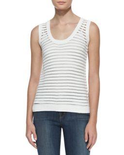Womens Shannon Sheer Stripe Sweater Tank   J Brand Ready to Wear   White (X