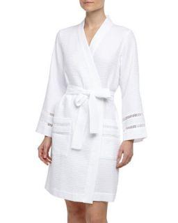 Womens Spa Oasis Crochet Trim Short Robe, White   Oscar de la Renta   White