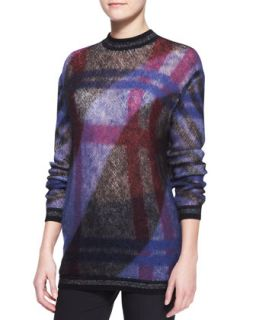 Womens Mohair Blend Check Sweater   Kenzo   Fuchsia (X LARGE)