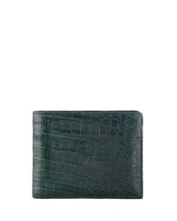 Mens Crocodile Bi Fold Wallet, Hunter Green   Santiago Gonzalez   Green