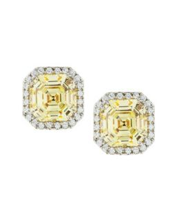 Cushion Canary Cubic Zirconia Stud Earrings, 3.25 TCW   Fantasia by DeSerio
