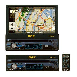 Pyle PLBT72G 7 Inch Single DIN In Dash Motorized Touchscreen LCD Monitor with DVD/CD/USB/SD, AM/FM/Bluetooth, Built In GPS with Maps  Vehicle Dvd Players