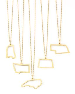 14k Gold Necklace, Mississippi Wyoming & DC   Maya Brenner Designs   Nevada