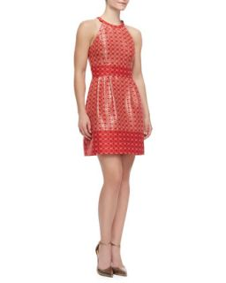Womens Printed Halter Dress, Bright Coral   Ali Ro   Bright coral mult (8)