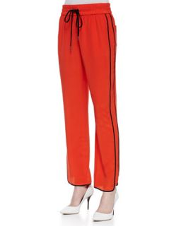 Womens Frances Crepe de Chine Track Pants, Bright Red   MARC by Marc Jacobs