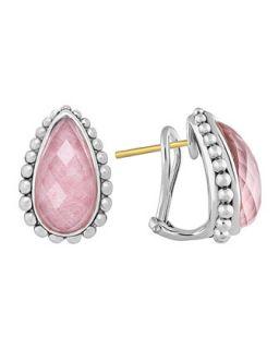 Silver Maya Rhodochrosite Half Hoop Stud Earrings   Lagos   Silver