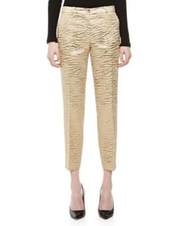 Womens Zebra Brocade Samantha Pants   Michael Kors   Khaki (8)