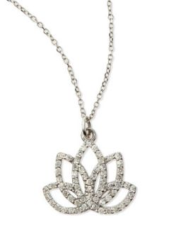 Diamond Lotus Flower Necklace   KC Designs   White gold