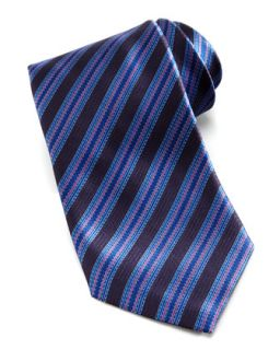 Mens Micro Dash Stripe Silk Tie, Navy/Pink   Stefano Ricci   Navy