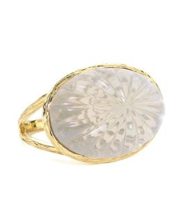 Daphne Milky Quartz Carved Ring   Elizabeth Showers   White