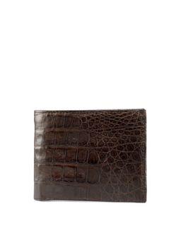 Mens Crocodile Bi Fold Wallet, Brown   Santiago Gonzalez   Brown