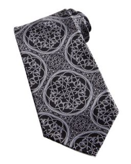 Mens Large Medallion Silk Tie, Black/Silver   Stefano Ricci   Black
