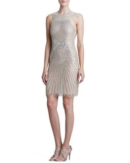 Womens High Neck Ray Beaded Cocktail Dress   Naeem Khan   Silver/Nude (8)