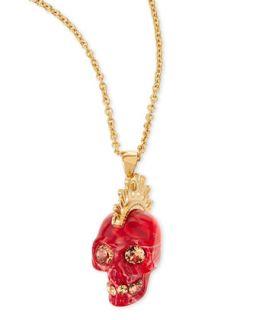 Plexi Punk Skull Pendant Necklace, Red/Golden   Alexander McQueen   Red/Gold