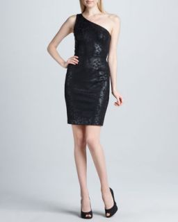 Womens One Shoulder Foil Sheath Dress   Erin by Erin Fetherston   Black (6)