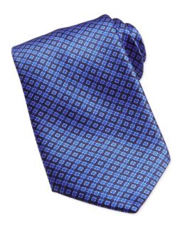 Mens Floral Pattern Woven Silk Tie, Blue   Stefano Ricci   Blue