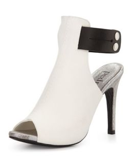 Samantha Leather Peep Toe Sandal, Black/White   Pedro Garcia   Black (37.0B/7.