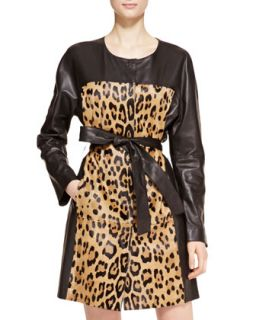 Womens Leather Leopard Trench Coat   Escada   Leopard (38)