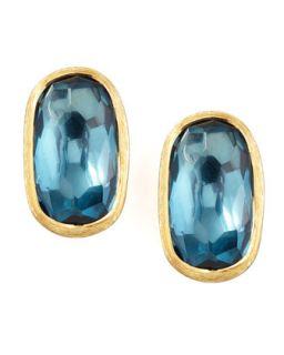 Murano 18k London Blue Topaz Stud Earrings, 15mm   Marco Bicego   Blue (15mm ,