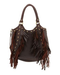 Nikki Golden Stud Fringe Tote, Brown   Raj