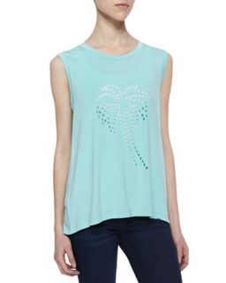 Womens Sleeveless Palm Tree Top   Lovers + Friends   Lt blue (LARGE)