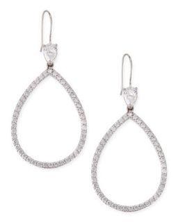 Open Pave Cubic Zirconia Pear Earrings   Fantasia by DeSerio   Silver