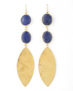 Lapis Quartz Drop Earrings   Devon Leigh   Blue