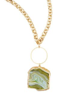 Hammered Agate Pendant Necklace, 33L   Devon Leigh   Green