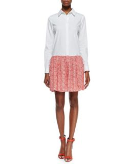 Womens Alison Contrast Shirt Dress, White/Chile Mesh   Diane von Furstenberg