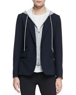 Womens Classic Stretch Wool Jacket with Dickey   Veronica Beard   Navy (0)