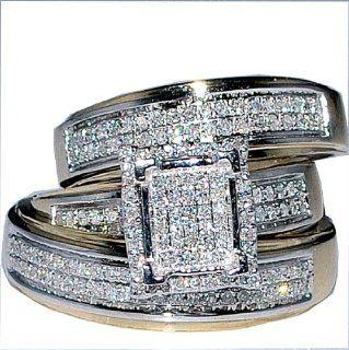 His Her Wedding Rings Set Trio Men Women 10k Yellow Gold: Jewelry