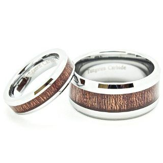 Matching Set His & Hers 5mm & 10mm Tungsten Wedding Rings with Wood Grain Inlay (Us Sizes Available Whole & Half 5mm: 4 14, 10mm: 7 17): Wedding Bands: Jewelry