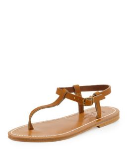 Petrone Leather Thong Sandal, Natural   K. Jacques   Natural (35.0B/5.0B)