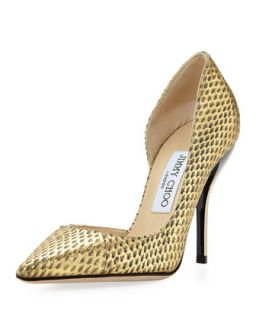 Willis Snake Half dOrsay Pump, Gold   Jimmy Choo   Gold (38.5B/8.5B)