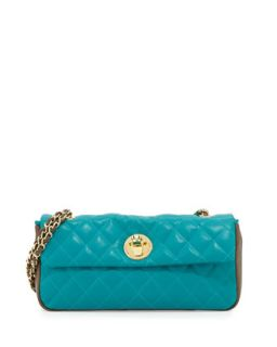 Borsa Quilted Faux Leather Crossbody Bag, Taupe/Turquoise   Moschino