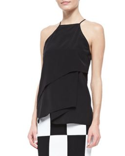 Womens Tiered Draped Silk Cami   10 Crosby Derek Lam   Black (12)