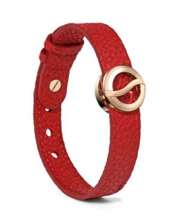 Leather Horizon Bracelet, Red/Rose Golden   Philip Stein   Red/Rose gold