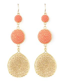 Pave Crystal & Web Drop Earrings   Devon Leigh   Peach