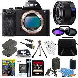 Sony ILCE 7S/B a7S Full Frame Camera, 35mm Lens, 64GB SDHC Card, 2 Batteries Bun