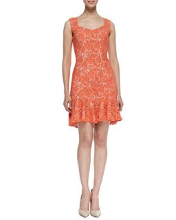 Womens Sleeveless Crocheted Lace Dress, Electric Guava   Erin Fetherston