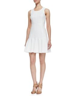 Womens Sleeveless Fit and Flare Dress, White   Ali Ro   Optic white (10)