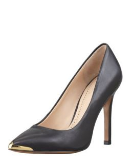 Christelle Metal Tip Pointy Toe High Heel Pump, Black   Pour la Victoire