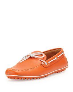 Mens Slip On Driving Shoe, Orange   Car Shoe   Orange (11)