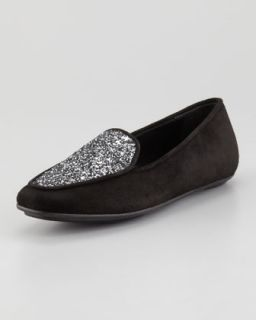 Quinn Sparkle Smoking Slipper, Black   Jacques Levine   Black (39.0B/9.0B)