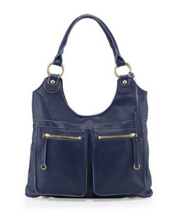 Dylan Front Pocket Leather Tote Bag, Blue   Linea Pelle