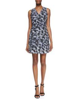 Womens Summer Storm Printed Silk Sleeveless Dress   Rebecca Taylor   Black