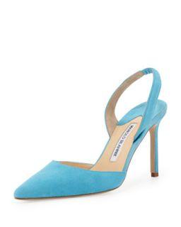 Carolyne Suede High Heel Halter Pump, Malibu   Manolo Blahnik   Malibu (8 1/2B)