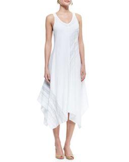 Womens Sleeveless V Neck Asymmetric Dress, White, Petite   Eileen Fisher